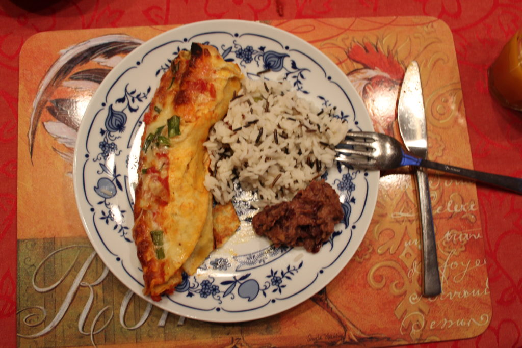 Enchiladas mir Reis und Bohnenmus